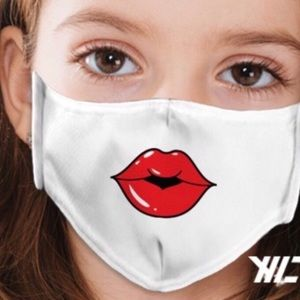 Made in USA Children White Face Mask Colorful Lips
